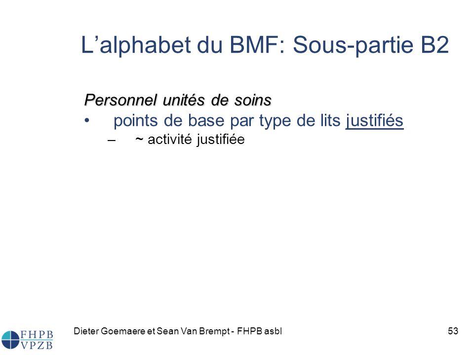 Dieter Goemaere et Sean Van Brempt - FHPB asbl53 Lalphabet du BMF: Sous-partie B2 Personnel unités de soins points de base par type de lits justifiés –~ activité justifiée