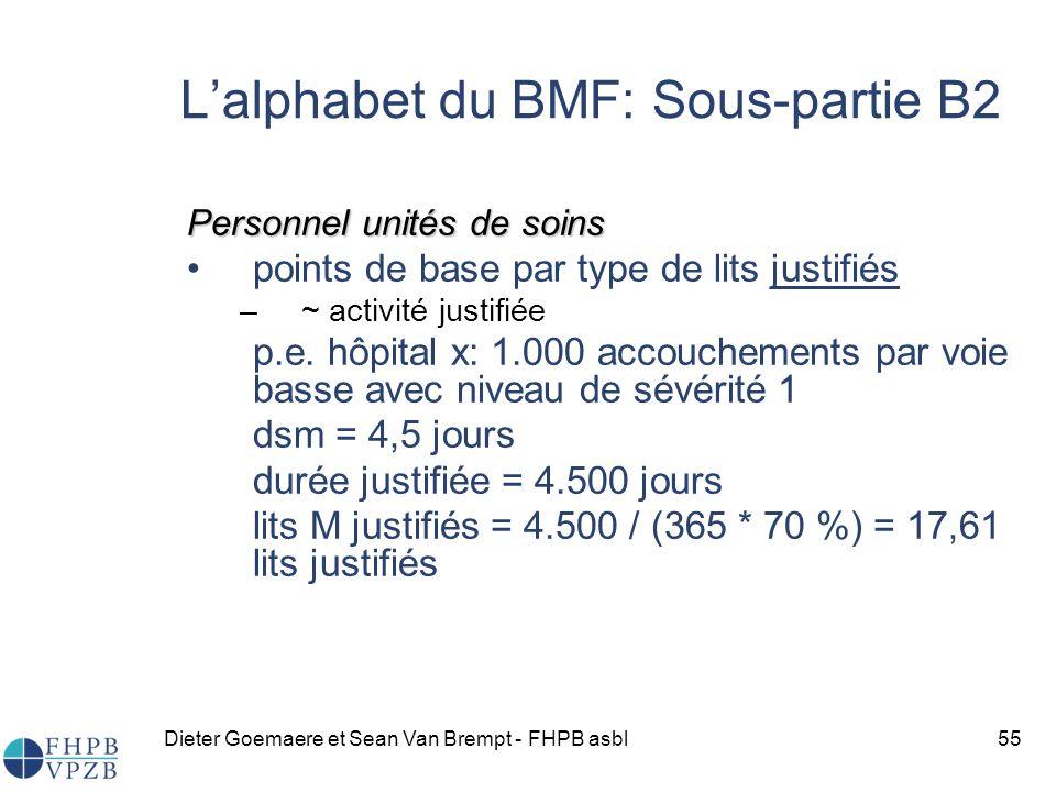 Dieter Goemaere et Sean Van Brempt - FHPB asbl55 Lalphabet du BMF: Sous-partie B2 Personnel unités de soins points de base par type de lits justifiés –~ activité justifiée p.e.