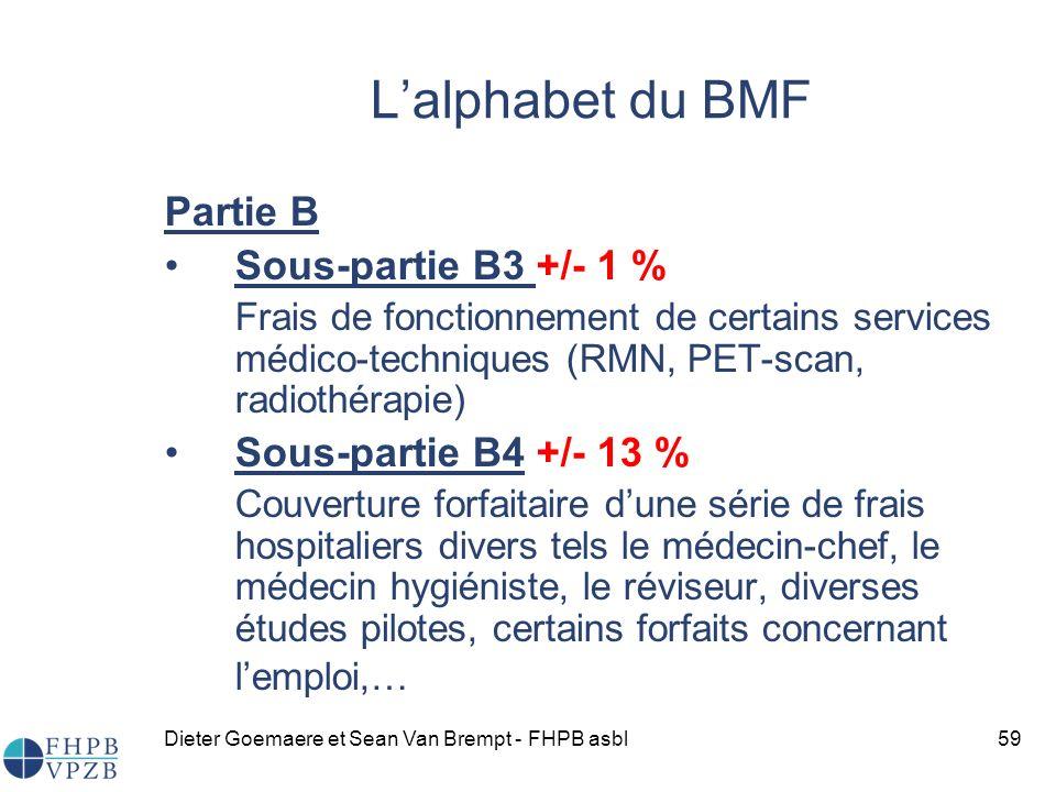 Dieter Goemaere et Sean Van Brempt - FHPB asbl59 Lalphabet du BMF Partie B Sous-partie B3 +/- 1 % Frais de fonctionnement de certains services médico-techniques (RMN, PET-scan, radiothérapie) Sous-partie B4 +/- 13 % Couverture forfaitaire dune série de frais hospitaliers divers tels le médecin-chef, le médecin hygiéniste, le réviseur, diverses études pilotes, certains forfaits concernant lemploi,…