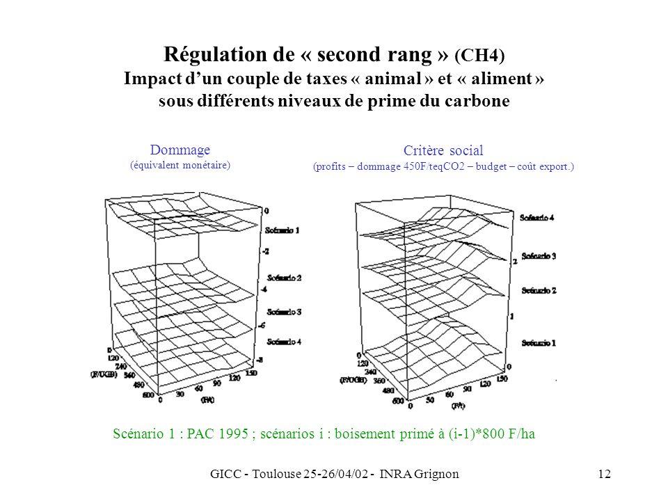GICC - Toulouse 25-26/04/02 - INRA Grignon12 Régulation de « second rang » (CH4) Impact dun couple de taxes « animal » et « aliment » sous différents niveaux de prime du carbone Dommage (équivalent monétaire) Critère social (profits – dommage 450F/teqCO2 – budget – coût export.) Scénario 1 : PAC 1995 ; scénarios i : boisement primé à (i-1)*800 F/ha