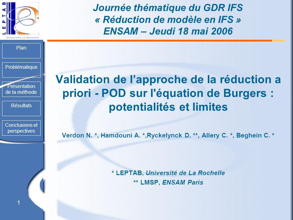 Plan Problématique Présentation de la méthode Conclusions et perspectives Résultats 1 Journée thématique du GDR IFS « Réduction de modèle en IFS » ENS