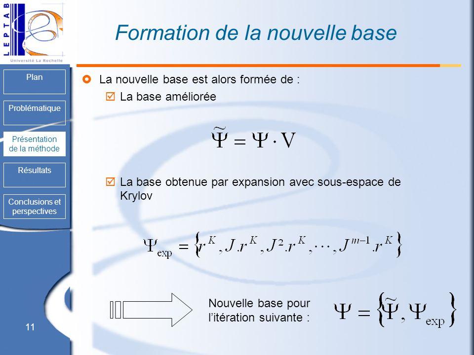 11 Plan Problématique Présentation de la méthode Résultats Conclusions et perspectives Formation de la nouvelle base La nouvelle base est alors formée
