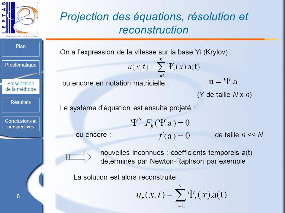 6 Plan Problématique Présentation de la méthode Résultats Conclusions et perspectives Projection des équations, résolution et reconstruction Présentat