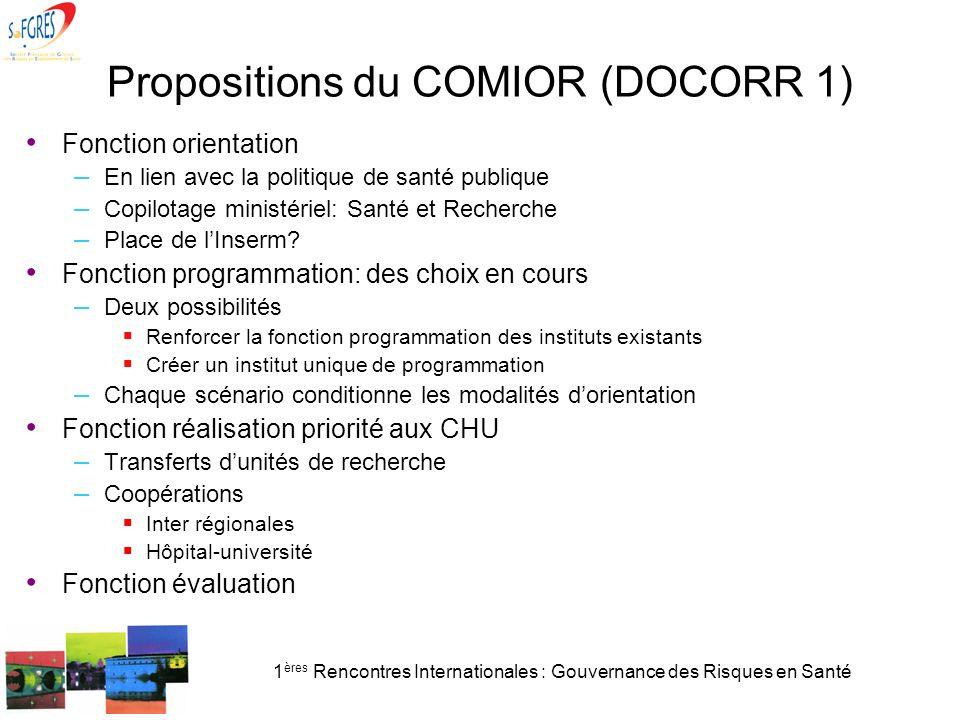 1 ères Rencontres Internationales : Gouvernance des Risques en Santé Propositions du COMIOR (DOCORR 1) Fonction orientation – En lien avec la politiqu