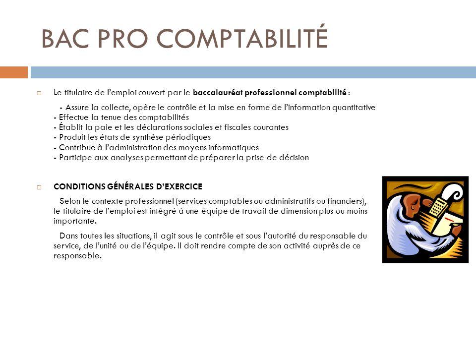 BAC PRO COMPTABILITÉ Le titulaire de lemploi couvert par le baccalauréat professionnel comptabilité : - Assure la collecte, opère le contrôle et la mi