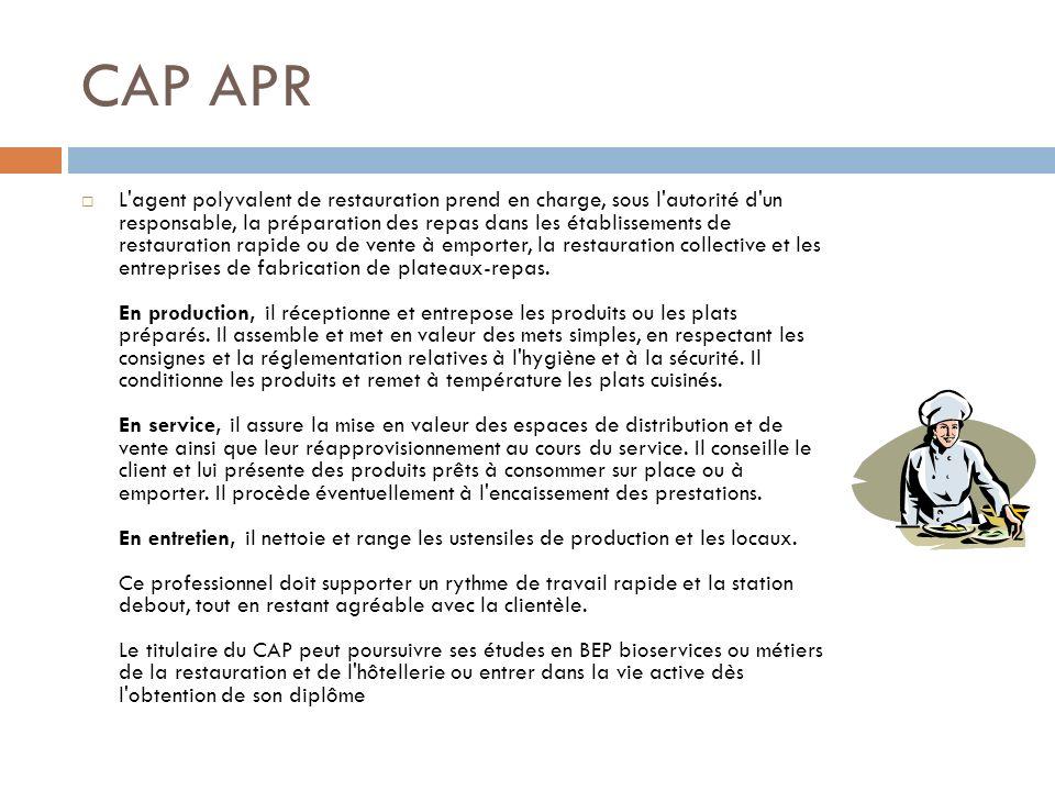 CAP APR L'agent polyvalent de restauration prend en charge, sous l'autorité d'un responsable, la préparation des repas dans les établissements de rest