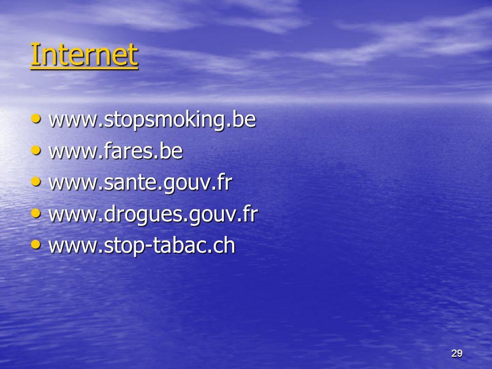 29 Internet www.stopsmoking.be www.stopsmoking.be www.fares.be www.fares.be www.sante.gouv.fr www.sante.gouv.fr www.drogues.gouv.fr www.drogues.gouv.f