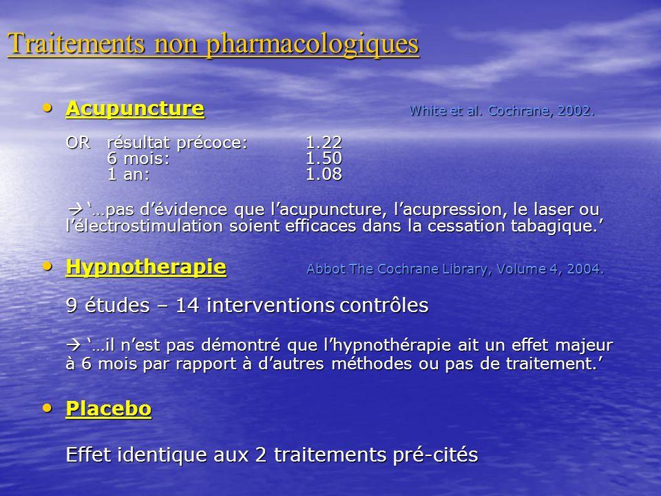 Traitements non pharmacologiques Acupuncture White et al. Cochrane, 2002. Acupuncture White et al. Cochrane, 2002. ORrésultat précoce:1.22 6 mois: 1.5