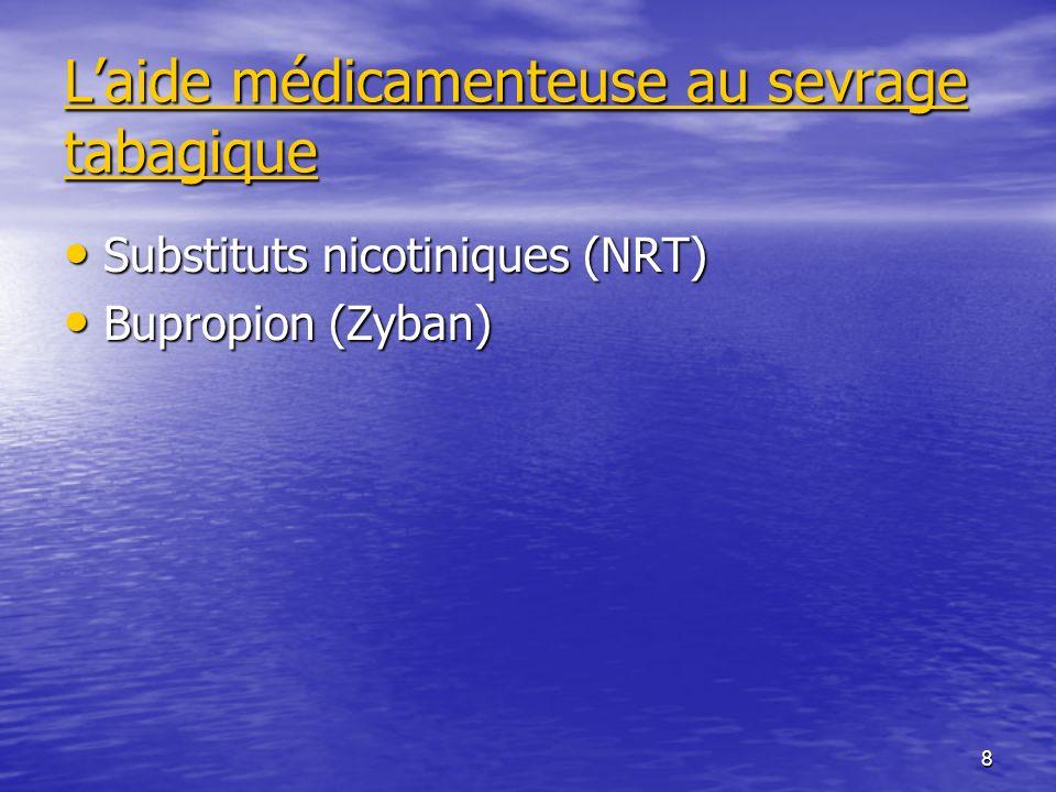 8 Laide médicamenteuse au sevrage tabagique Substituts nicotiniques (NRT) Substituts nicotiniques (NRT) Bupropion (Zyban) Bupropion (Zyban)