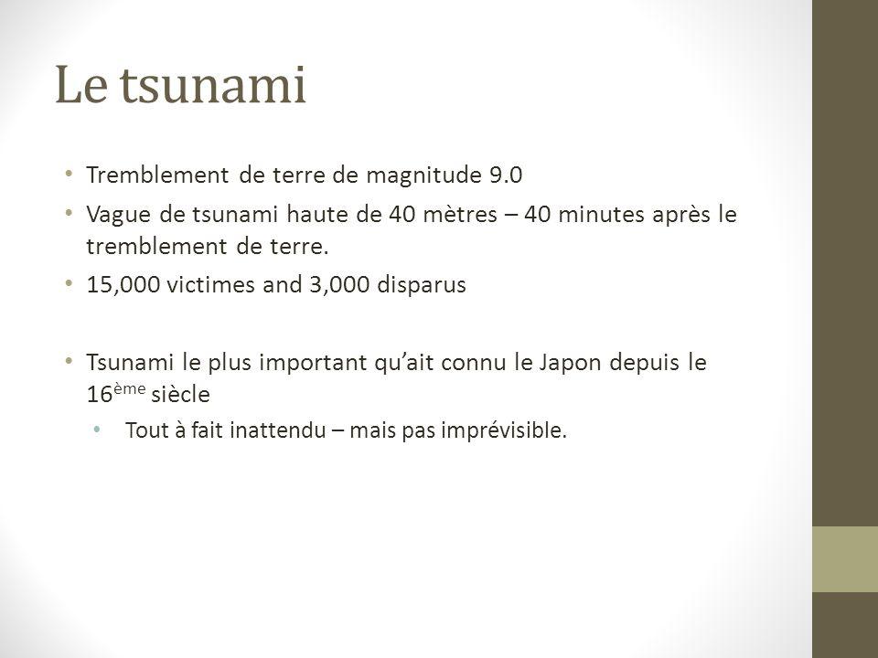 Le tsunami Tremblement de terre de magnitude 9.0 Vague de tsunami haute de 40 mètres – 40 minutes après le tremblement de terre. 15,000 victimes and 3