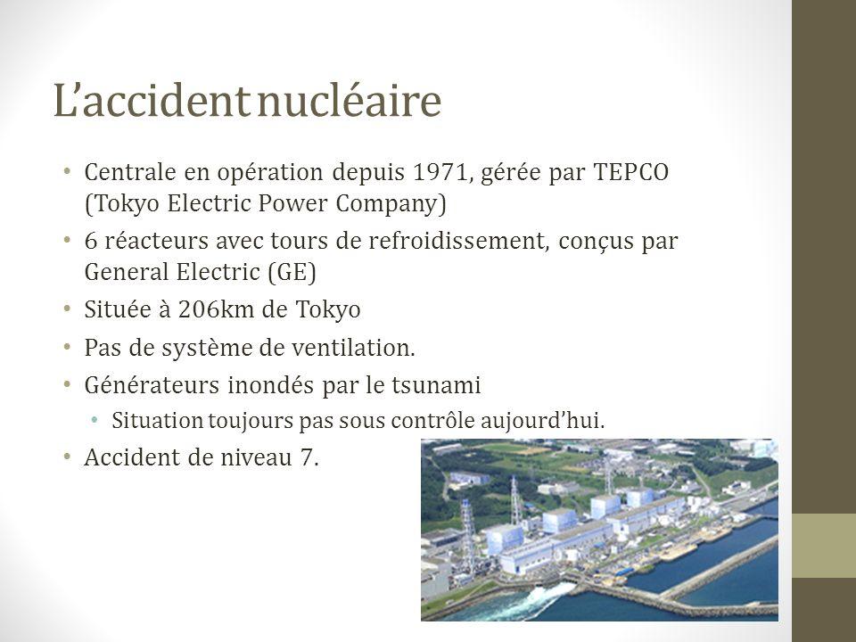 Laccident nucléaire Centrale en opération depuis 1971, gérée par TEPCO (Tokyo Electric Power Company) 6 réacteurs avec tours de refroidissement, conçus par General Electric (GE) Située à 206km de Tokyo Pas de système de ventilation.