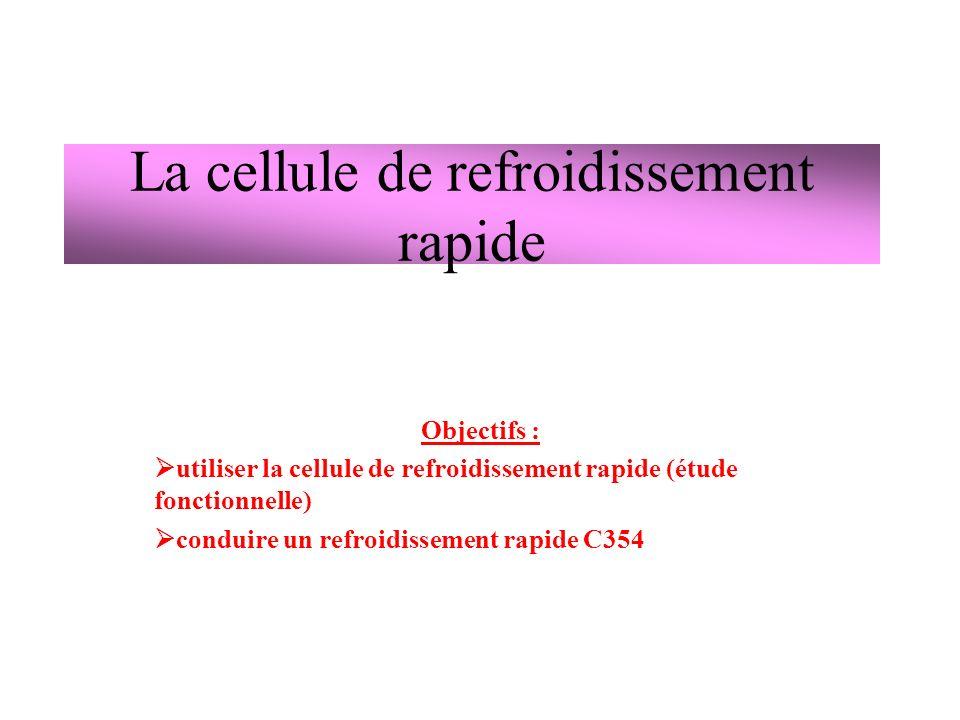 La cellule de refroidissement rapide Objectifs : utiliser la cellule de refroidissement rapide (étude fonctionnelle) conduire un refroidissement rapide C354