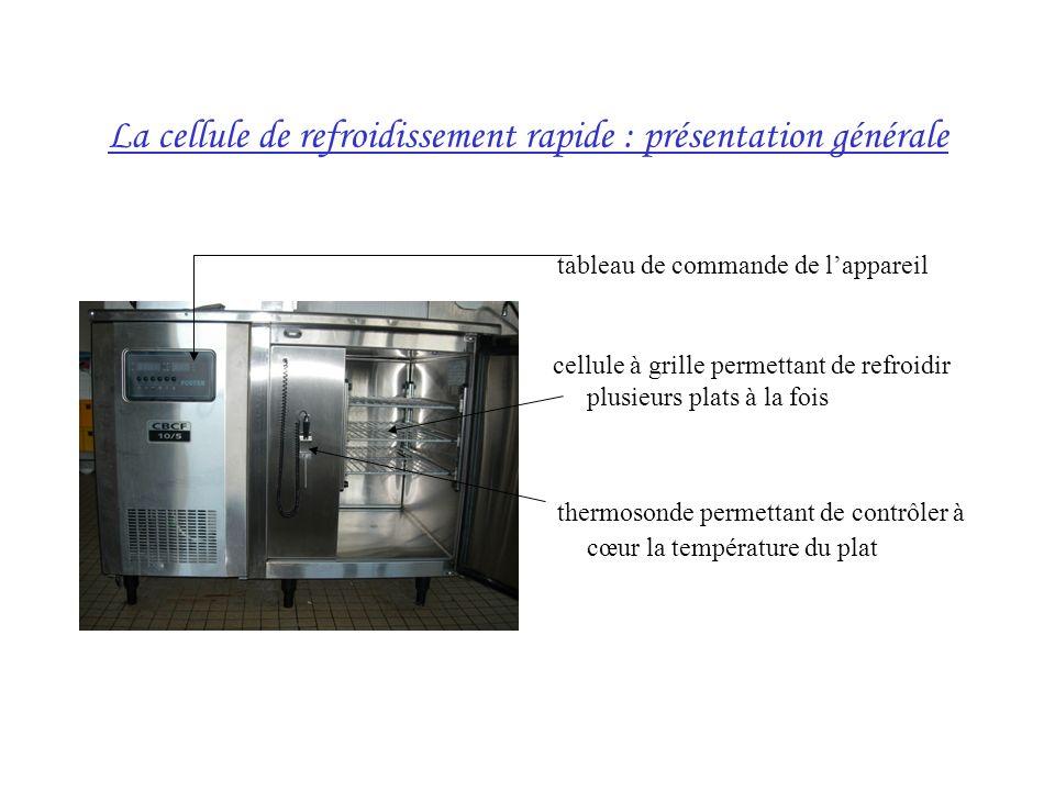 La cellule de refroidissement rapide : présentation générale tableau de commande de lappareil cellule à grille permettant de refroidir plusieurs plats à la fois thermosonde permettant de contrôler à cœur la température du plat