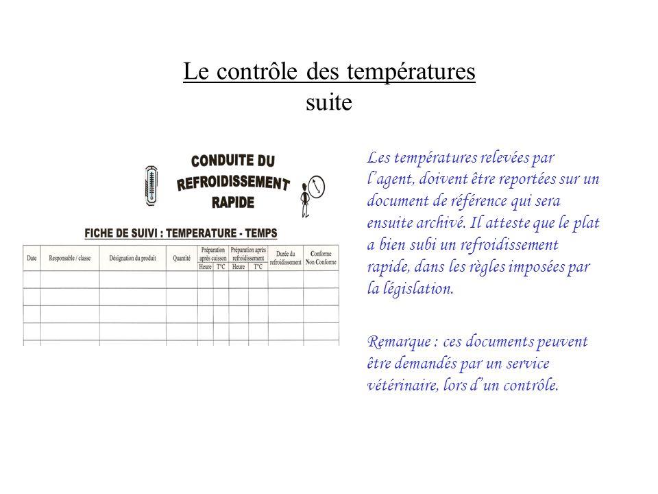 Le contrôle des températures suite Les températures relevées par lagent, doivent être reportées sur un document de référence qui sera ensuite archivé.