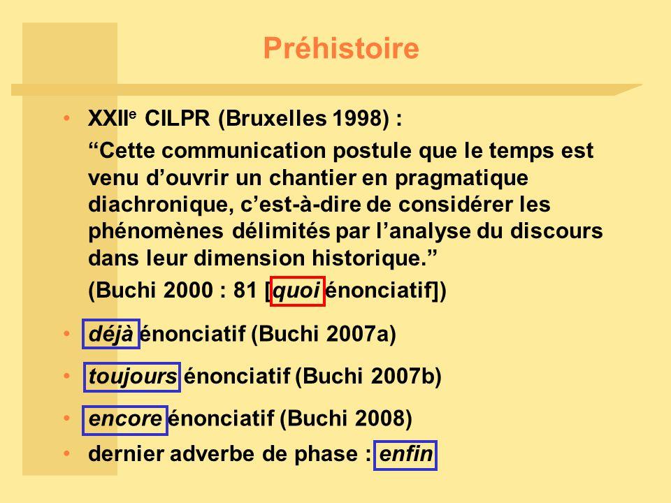 Préhistoire XXII e CILPR (Bruxelles 1998) : Cette communication postule que le temps est venu douvrir un chantier en pragmatique diachronique, cest-à-