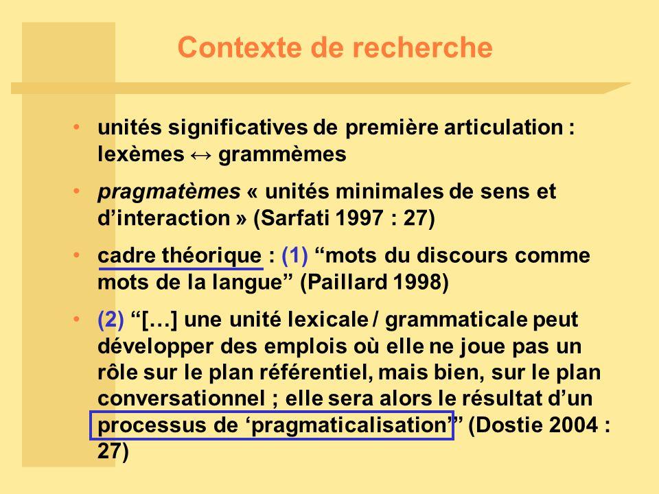 Contexte de recherche unités significatives de première articulation : lexèmes grammèmes pragmatèmes « unités minimales de sens et dinteraction » (Sar