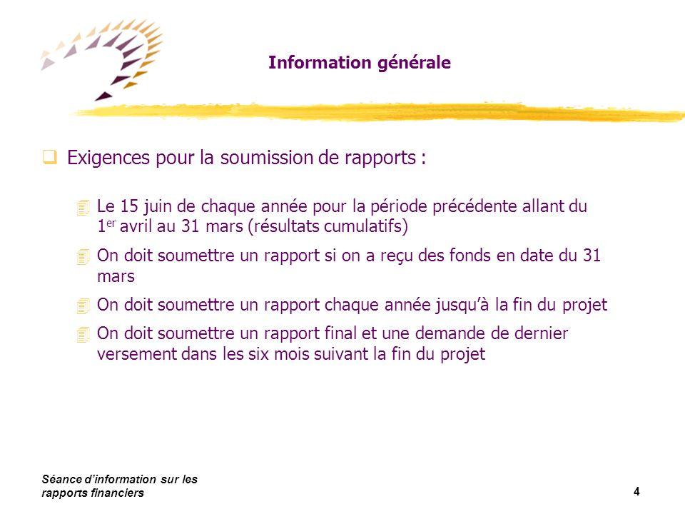 Séance dinformation sur les rapports financiers 15 Comment compléter un rapport
