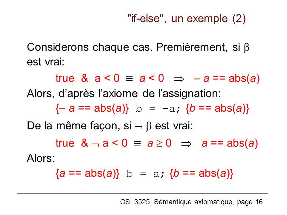CSI 3525, Sémantique axiomatique, page 16 Considerons chaque cas. Premièrement, si est vrai: true & a < 0 a < 0 – a == abs(a) Alors, daprès laxiome de