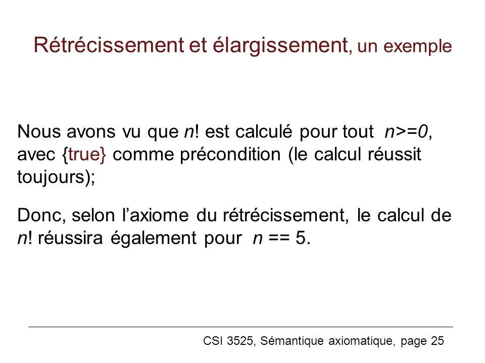 CSI 3525, Sémantique axiomatique, page 25 Nous avons vu que n! est calculé pour tout n>=0, avec {true} comme précondition (le calcul réussit toujours)