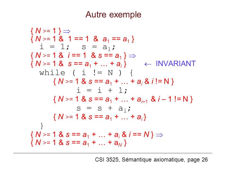 CSI 3525, Sémantique axiomatique, page 26 Autre exemple { N >= 1 } { N >= 1 & 1 == 1 & a 1 == a 1 } i = 1; s = a 1 ; { N >= 1 & i == 1 & s == a 1 } { N >= 1 & s == a 1 + … + a i } INVARIANT while ( i != N ) { { N >= 1 & s == a 1 + … + a i & i != N } i = i + 1; { N >= 1 & s == a 1 + … + a i–1 & i – 1 != N } s = s + a i ; { N >= 1 & s == a 1 + … + a i } } { N >= 1 & s == a 1 + … + a i & i == N } { N >= 1 & s == a 1 + … + a N }