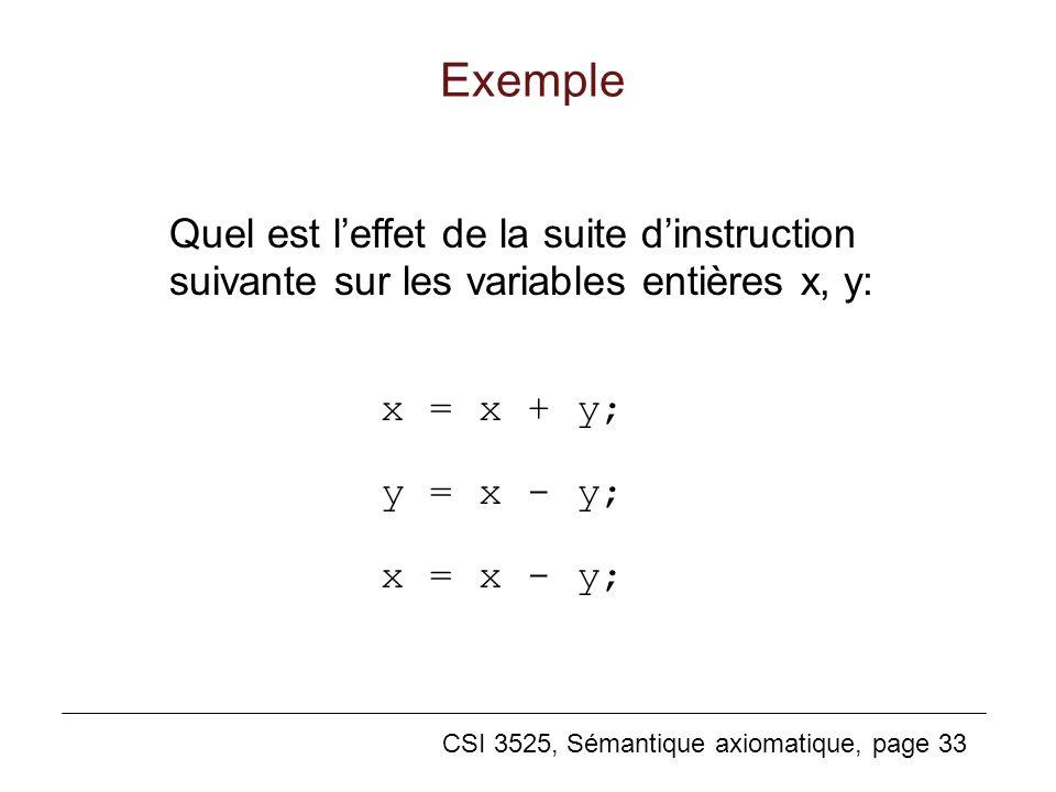 CSI 3525, Sémantique axiomatique, page 33 x = x + y; y = x - y; x = x - y; Exemple Quel est leffet de la suite dinstruction suivante sur les variables entières x, y: