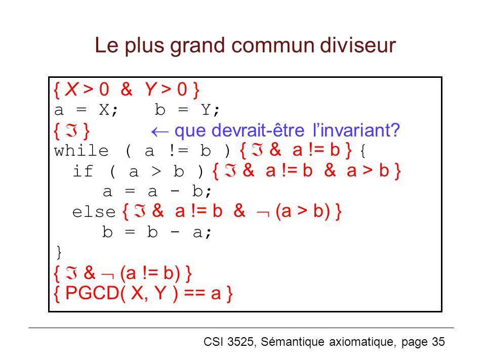 CSI 3525, Sémantique axiomatique, page 35 Le plus grand commun diviseur { X > 0 & Y > 0 } a = X; b = Y; { } que devrait-être linvariant? while ( a !=