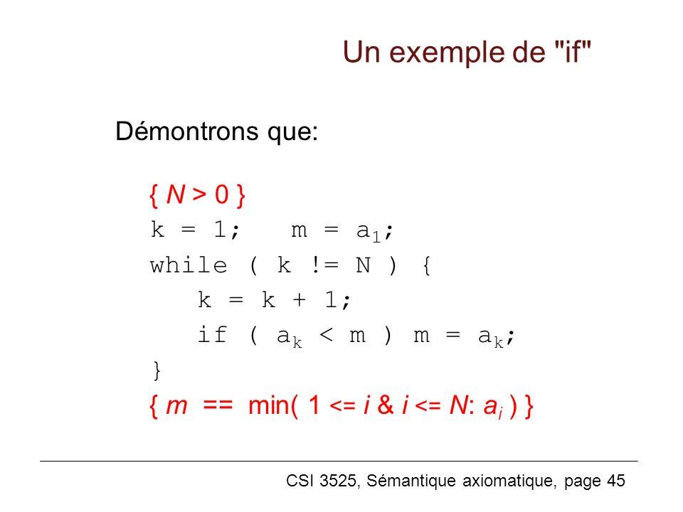 CSI 3525, Sémantique axiomatique, page 45 Démontrons que: { N > 0 } k = 1; m = a 1 ; while ( k != N ) { k = k + 1; if ( a k < m ) m = a k ; } { m == min( 1 <= i & i <= N: a i ) } Un exemple de if