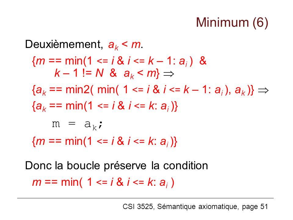 CSI 3525, Sémantique axiomatique, page 51 Deuxièmement, a k < m. {m == min(1 <= i & i <= k – 1: a i ) & k – 1 != N & a k < m} {a k == min2( min( 1 <=