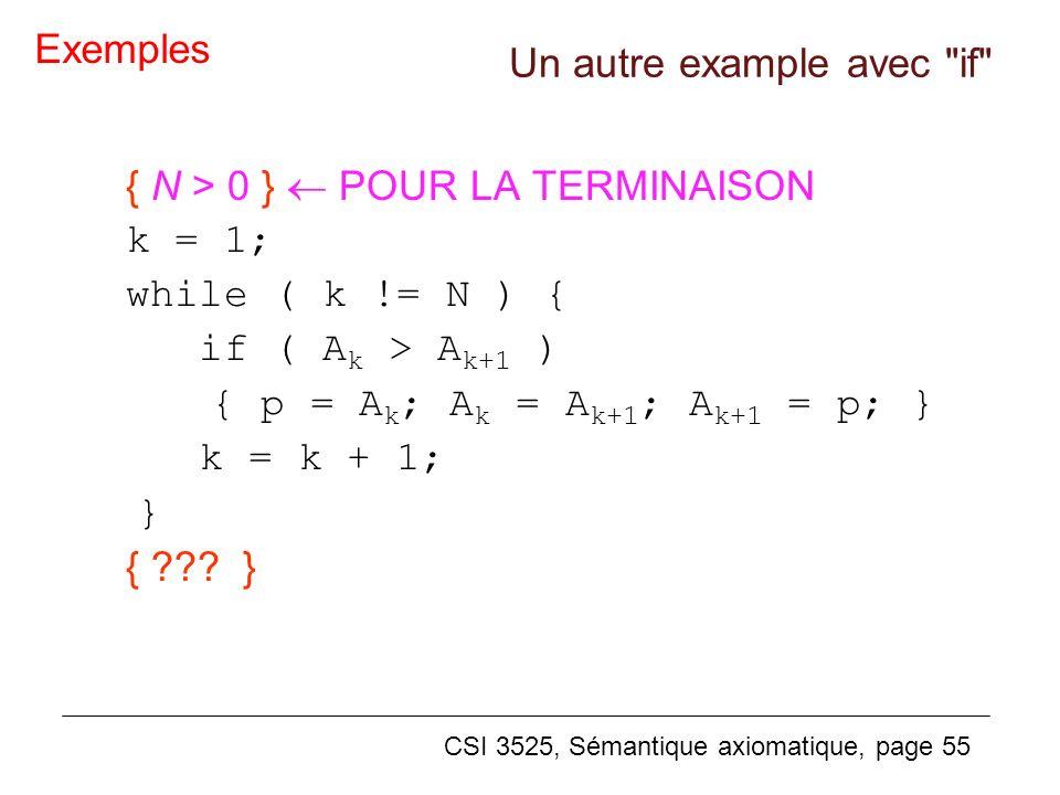 CSI 3525, Sémantique axiomatique, page 55 { N > 0 } POUR LA TERMINAISON k = 1; while ( k != N ) { if ( A k > A k+1 ) { p = A k ; A k = A k+1 ; A k+1 = p; } k = k + 1; } { ??.