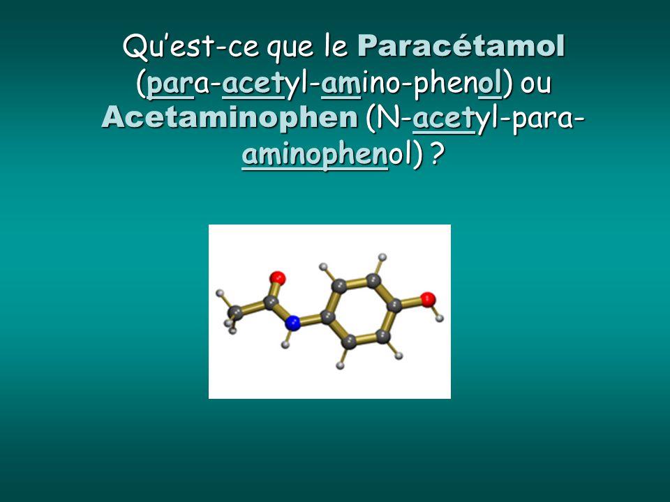 Quest-ce que le Paracétamol (para-acetyl-amino-phenol) ou Acetaminophen (N-acetyl-para- aminophenol) ?