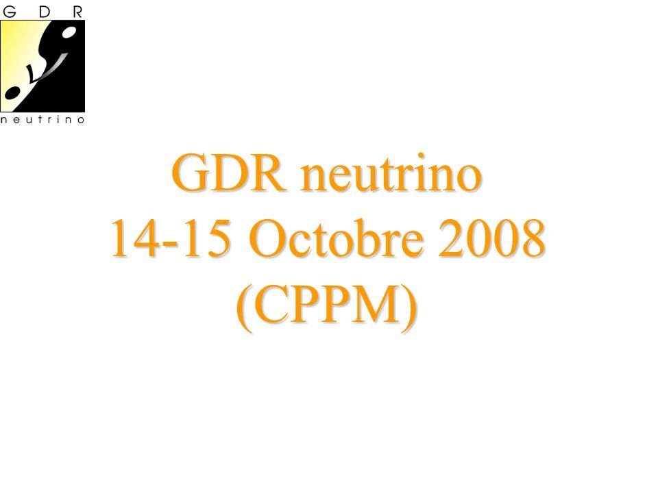 Agenda Mardi 15 Octobre 2008 14:00 Introduction (15 ) 14:15 ANTARES (35): Nicolas Picot-Clemente 14:50 A study of quasi-elastic muon (anti)neutrino scattering in the NOMAD experiment (35 ): Vladimir Lyubushkin 15:25 Supernova relic neutrinos (35 ): Shin chiro Ando 16:00 Pause 16:30 The dynamical MSW effect in supernovae (35): James Kneller 17:05 Why fits may prefer theta_13 > 0 (45): Michele Maltoni 17:50 Status of Double Chooz experiment (35): Jaime Dawson Mercredi 15 Octobre 2008 GT1 (09:00->10:15) D.