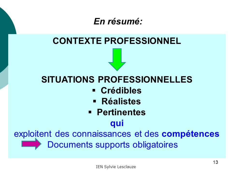 IEN Sylvie Lesclauze 13 CONTEXTE PROFESSIONNEL SITUATIONS PROFESSIONNELLES Crédibles Réalistes Pertinentes qui exploitent des connaissances et des com