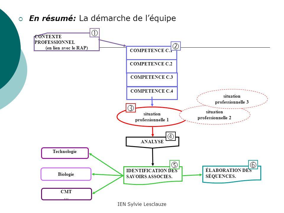 IEN Sylvie Lesclauze En résumé: La démarche de léquipe CONTEXTE PROFESSIONNEL (en lien avec le RAP) situation professionnelle 1 ANALYSE Biologie Techn