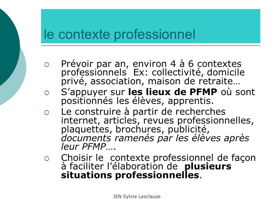 IEN Sylvie Lesclauze le contexte professionnel Prévoir par an, environ 4 à 6 contextes professionnels Ex: collectivité, domicile privé, association, m