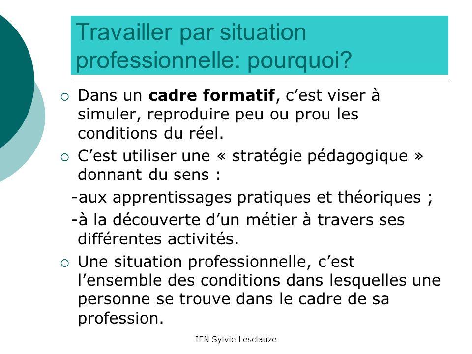IEN Sylvie Lesclauze Travailler par situation professionnelle: pourquoi? Dans un cadre formatif, cest viser à simuler, reproduire peu ou prou les cond