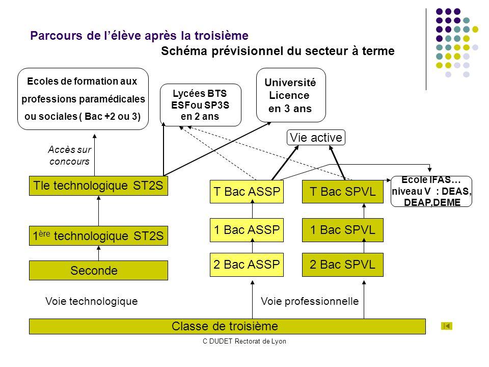 C DUDET Rectorat de Lyon Schéma prévisionnel du secteur à terme Parcours de lélève après la troisième Classe de troisième Seconde 1 ère technologique