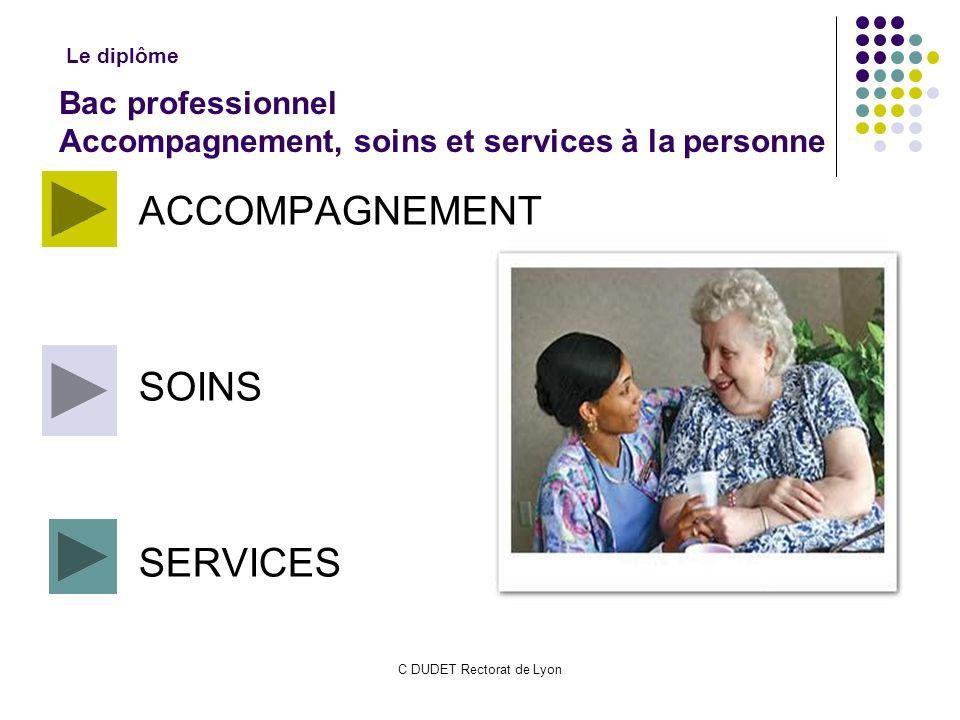 C DUDET Rectorat de Lyon ACCOMPAGNEMENT SOINS SERVICES Bac professionnel Accompagnement, soins et services à la personne Le diplôme