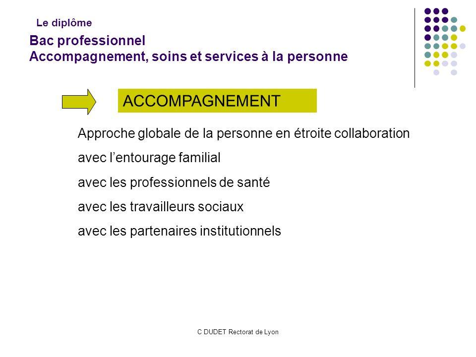 C DUDET Rectorat de Lyon Bac professionnel Accompagnement, soins et services à la personne Approche globale de la personne en étroite collaboration av