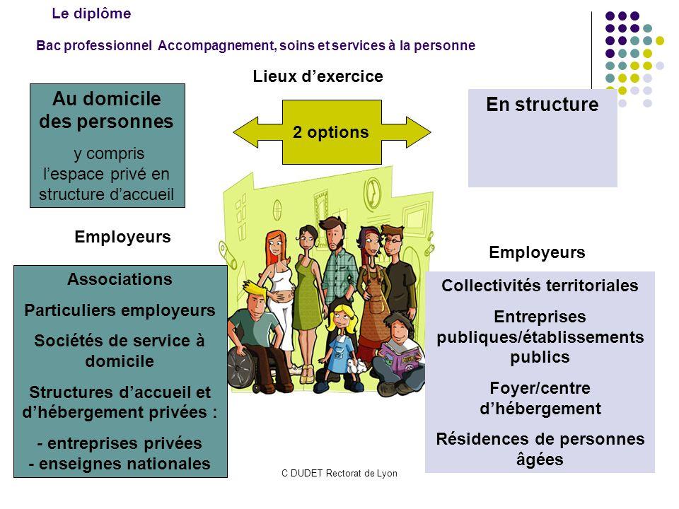 C DUDET Rectorat de Lyon Bac professionnel Accompagnement, soins et services à la personne Lieux dexercice Au domicile des personnes y compris lespace