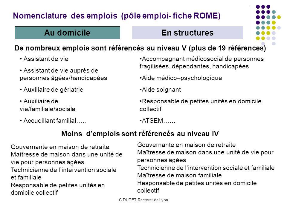 C DUDET Rectorat de Lyon Nomenclature des emplois (pôle emploi- fiche ROME) Au domicile En structures De nombreux emplois sont référencés au niveau V