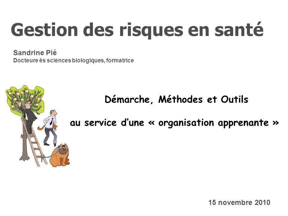 Sandrine Pié Docteure ès sciences biologiques, formatrice Gestion des risques en santé 15 novembre 2010 Démarche, Méthodes et Outils au service dune «