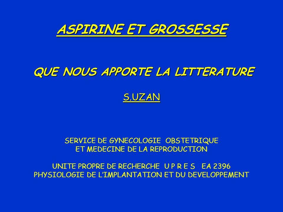 RISQUES POTENTIELS DE LASPIRINE PENDANT LA GROSSESSE StudiesStudy Design SloneCohort 50282Malformations.