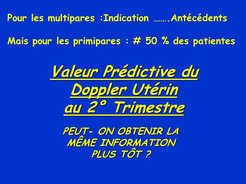 Valeur Prédictive du Doppler Utérin au 2° Trimestre PEUT- ON OBTENIR LA MÊME INFORMATION PLUS TÔT ? Pour les multipares :Indication …….Antécédents Mai
