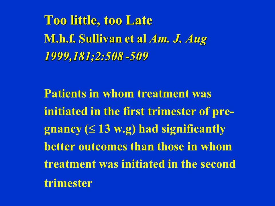 Too little, too Late M.h.f. Sullivan et al Am. J. Aug 1999,181;2:508 -509 Too little, too Late M.h.f. Sullivan et al Am. J. Aug 1999,181;2:508 -509 Pa