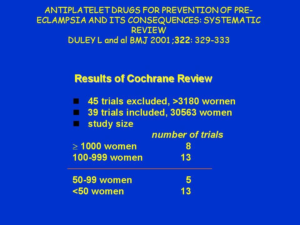DULEY L and al BMJ 2001 ;322: 329-333