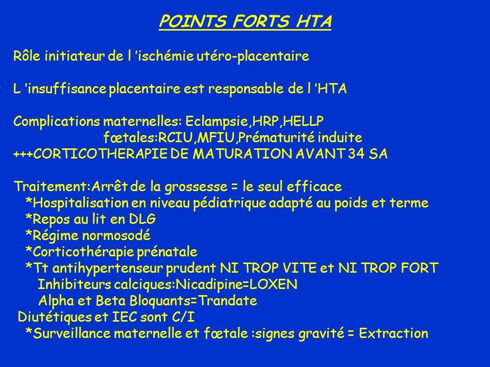POINTS FORTS HTA Rôle initiateur de l ischémie utéro-placentaire L insuffisance placentaire est responsable de l HTA Complications maternelles: Eclamp