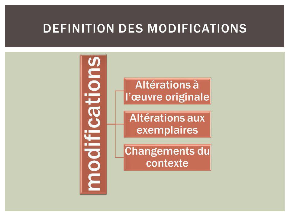 modifications Altérations à lœuvre originale Altérations aux exemplaires Changements du contexte DEFINITION DES MODIFICATIONS