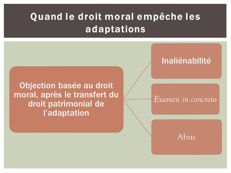 Quand le droit moral empêche les adaptations Objection basée au droit moral, après le transfert du droit patrimonial de ladaptation Inaliénabilité Exa