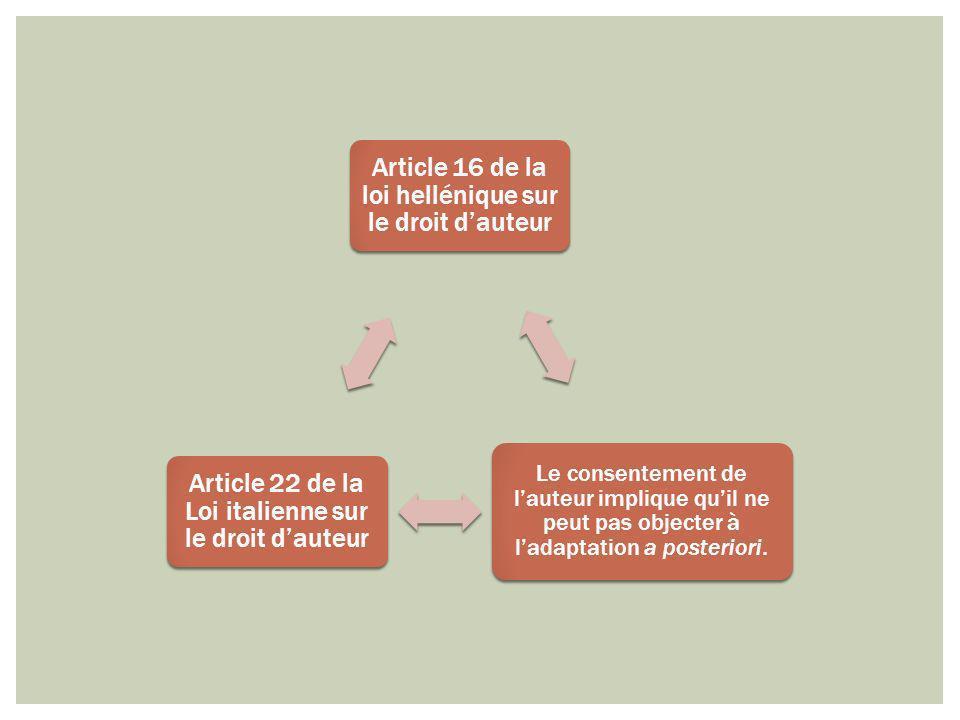 Article 16 de la loi hellénique sur le droit dauteur Le consentement de lauteur implique quil ne peut pas objecter à ladaptation a posteriori. Article