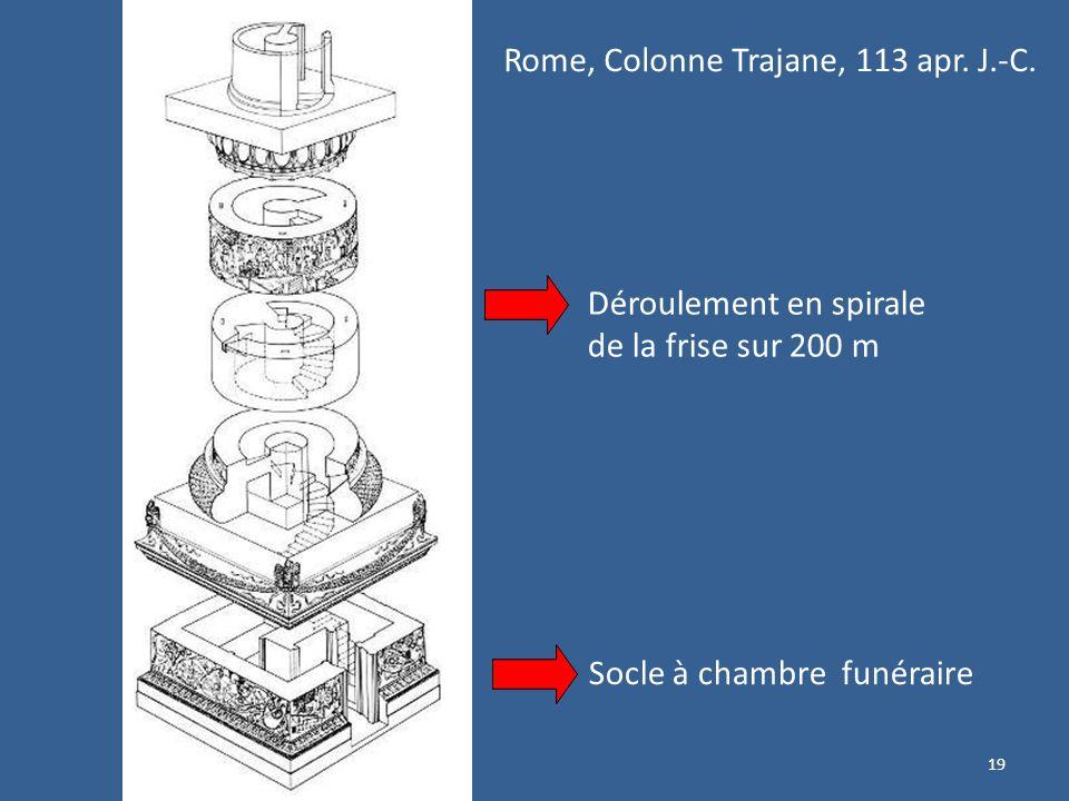 19 Déroulement en spirale de la frise sur 200 m Socle à chambre funéraire Rome, Colonne Trajane, 113 apr. J.-C.